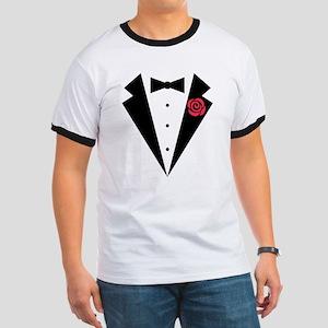 Funny Tuxedo [red rose] Ringer T